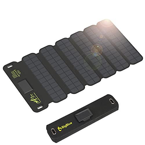 BigBlue 15W tragbar Solar Ladegerät 2-Port USB & wasserdichte Solarpanel mit Typ-C-Kabel für Wiederaufladen USB-Geräte - iPhone Android GoPro usw