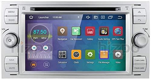 hizpo 2 Din Autoradio Android 10 para Ford CMax/Connect/Fiesta/ Fusion/Galaxy/Kuga/Mondeo/S-Max/Transit Focus Radio 4+64G Bluetooth USB SD WiFi 4G RDS Cámara Trasera Mirrorlink Control del Volante DAB