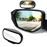 LivTee Universal Adjustable Car rearview auxiliary mirror HD Glass Wide Angle Side Rearview Mirror, Black