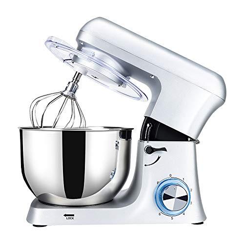NoNo keukenmachine met 7 liter, roestvrij stalen mengkom, roestvrijstalen kneedhaak, keukenmachine, multifunctioneel, staande mixer, deegmachine, 6 snelheden, kneedmachine, eenvoudig te reinigen eier-beaterroer.