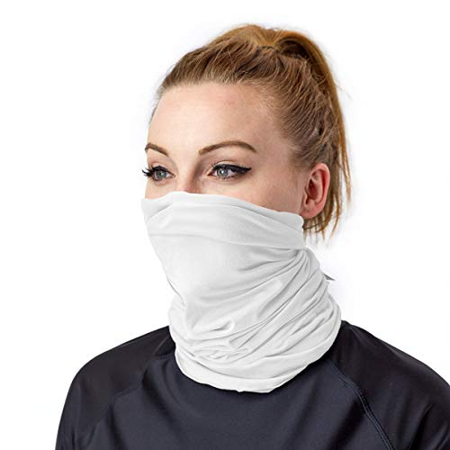 UV SKINZ UPF 50+ Bamboo UV Neck & Face Covering - UV and Dust Protective, Breathable, Reusable Cloth Face Mask and Neck Gaiter (White, L/XL)