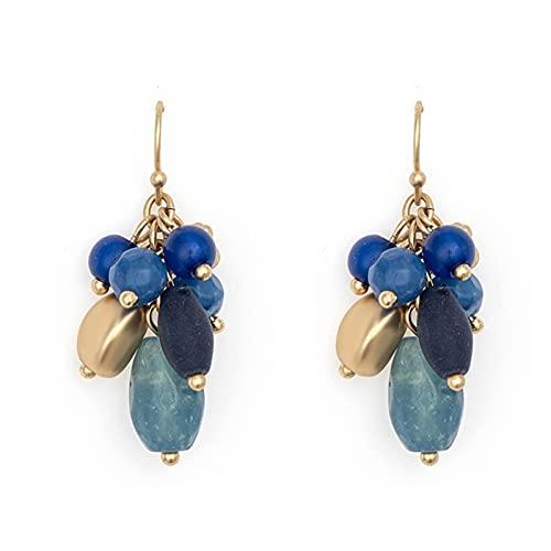 QWEQWE Piedra Natural acrílico Perlas Resina Vintage Azul Mate Oro Color Gota Pendientes Accesorio de Gancho (Main Stone Color : Blue, Metal Color : Gold-Color)