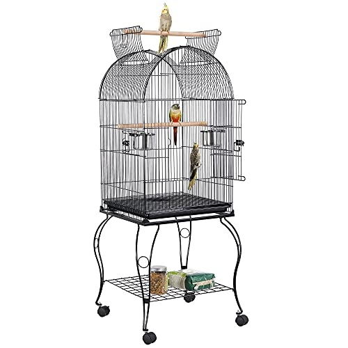 Yaheetech Open Top Large Parrot Bird Cage for Cockatiel Sun Conure Parakeet Lovebird Budgie Finches Canary Pet Cage with Detachable Stand