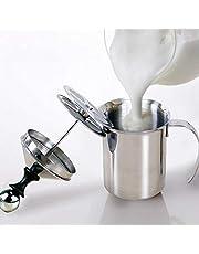 Mjölkskummare 400 ml/800 ml rostfritt stål manuell mjölkskummare dubbelt nät kaffe cappuccino skum gräddkanna (storlek: 400 ml)