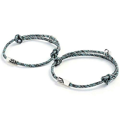 Qklovni 2Pcs Couple Bracelet Love Token Friendship Rope Braided Distance Magnetic Jewelry for Lover Friends Sisters,Relationship Bracelets Matching Bracelets,Couples Bracelets His and Hers Bracelets
