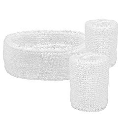 Boland 01891 - Wristbands, 1 headband and 2 bracelets, white, one size, sport, accessory, 80s, tracksuit, tennis player, themed party, carnival