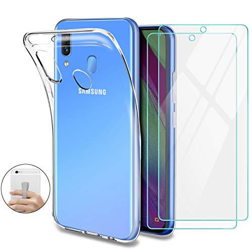Younme Cover per Samsung Galaxy A40 Custodia, Trasparente Custodia Sottile Silicone Gel TPU Case + Pellicola Protettiva in Vetro Temperato [con Antiscivolo Mano Cinturino] per Samsung Galaxy A40