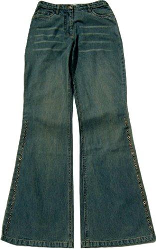 Nieten Schlag-Jeans USED-Look Schlammwaschung Gr XS 34