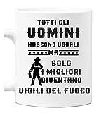 bubbleshirt Tazza Mug in Ceramica Vigili del Fuoco - Tutti Gli Uomini Nascono Uguali ma Solo i Migliori Diventano Vigili del Fuoco - Idea Regalo - Mestieri