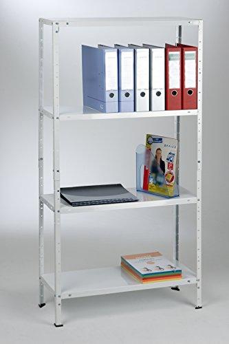 Grundregal 150x75x30 cm 4 Böden, 40kg, weiß, Marke: Szagato (Kellerregal Lagerregal Büroregal Schraubregal)