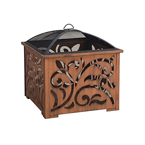 Check Out This Sunjoy A301016900 Lyra 26 in. Square Wood Burning Firepit, Copper