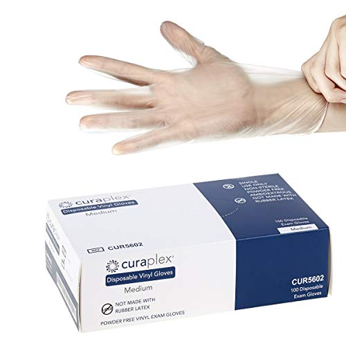 Curaplex Disposable Vinyl Gloves for Food Handling, Janitorial Applications & More - Available in Sm, Med, Lg, XL – Powder-Free, Latex-Free