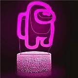 Huanchenda Amo-ng Us 3D Ilusión Lámpara, 7 Colores Cambian Luz Nocturna Lámpara de Noche para Decoración de Dormitorio