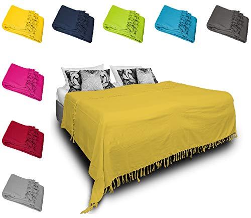 one-home Tagesdecke Bettüberwurf 220x240 cm Sofa Überwurf Bettdecke Doppelbett Baumwolle, Farbe:Gelb