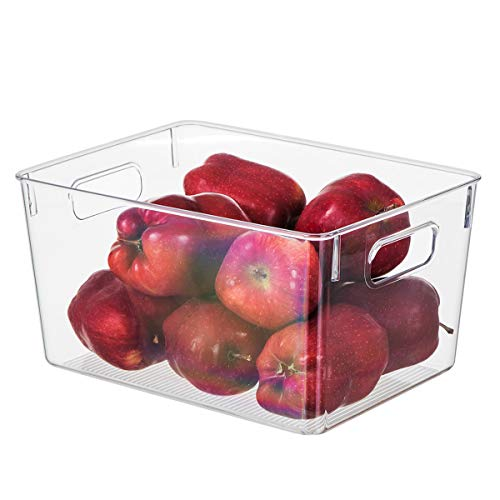 """EAMAOTT Clear Plastic Storage Organizer Container Bins with Cutout Handles, Transparent Set of 4 