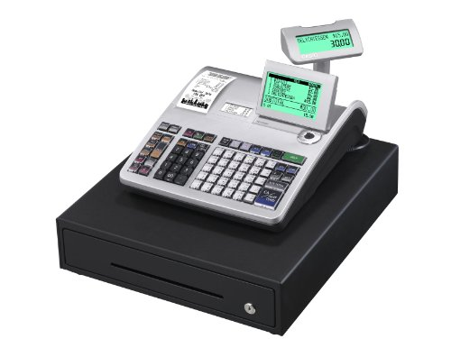 Casio SE-S3000MB-SR GDPdU - Caja registradora (10 líneas en pantalla), color plateado y negro