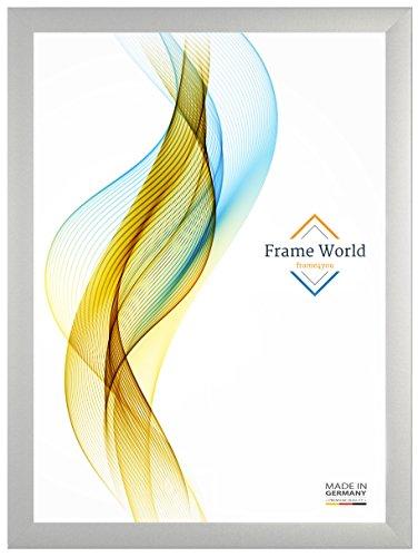 Frame World FW35 Bilderrahmen für 80 x 121 cm Puzzles, Farbe: Silber matt, MDF Holzrahmen inkl. entspiegeltem Acrylglas (Antireflex) und HDF Rückwand, Rahmen Breite: 35 mm, Aussenmaß: 85,8 x 126,8 cm