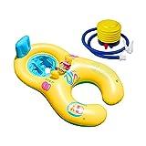 Jooheli Flotador de Natación para Madre y Bebé, Anillo de Piscina Inflable de Doble Persona, Flotadores para Bebes con Campanas y Respaldo, Flotador Piscina con Doble Asiento y Inflador