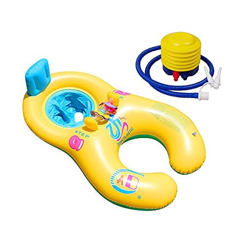 Jooheli Doppel Schwimmring Baby, Schwimmhilfe Aufblasbar mit Inflator Pumpe, Baby Aufblasbarer Sessel für Pool mit Rückenlehne und Glocken, Doppel Schwimmring Aufblasbarer für Kinder und Mutter