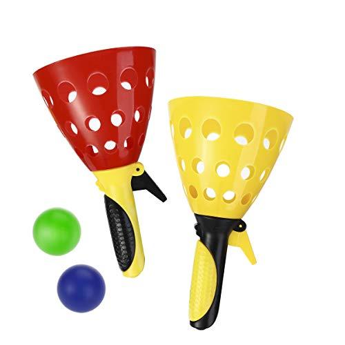 LIOOBO Pop- und Fangspiel, Outdoor-Spielzeug im Freien Sportspiele Wurf- und Fangspiel für Kinder und Erwachsene 4 Kugeln (zufällige Farbe)