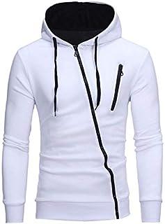 Mens Hoodies Sweatshirt Oblique Zipper Cardigan Tracksuit Casual Hooded Jacket white color