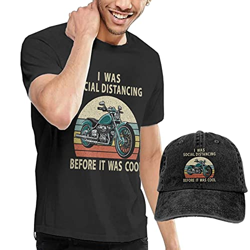 mengmeng Camiseta casual de manga corta para hombre y gorras de béisbol, camiseta negra I was Social Distancing Before It was Cool 2 camisetas con gorra de béisbol para hombres