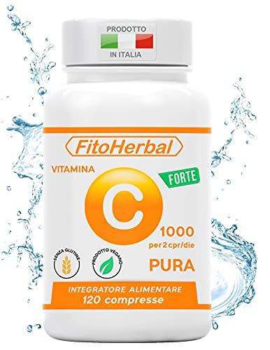 FitoHerbal Vitamina C Pura SENZA ADDITIVI Compresse Alto Dosaggio Integratore Acido Ascorbico Potenzia Sistema immunitario Protegge dai Radicali Liberi Antiossidante Naturale. Qualità Made in Italy