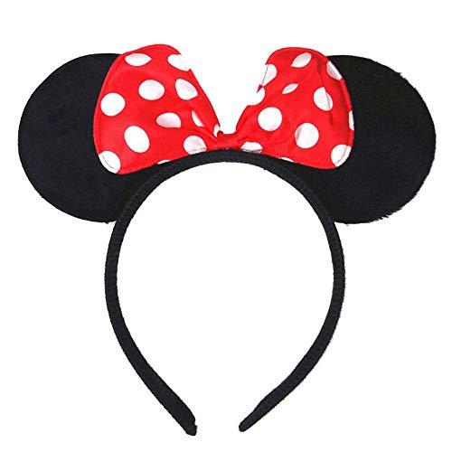 House Cloud - Diadema negra con orejas de Minnie Mouse con lazo rojo a lunares blancos - Diadema para niños y adultos - 4 Colores diferentes rojo