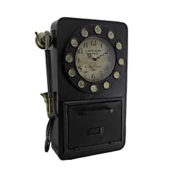 Zeckos Time to Chat Antique Rotary Phone Wall Clock Key Cabinet
