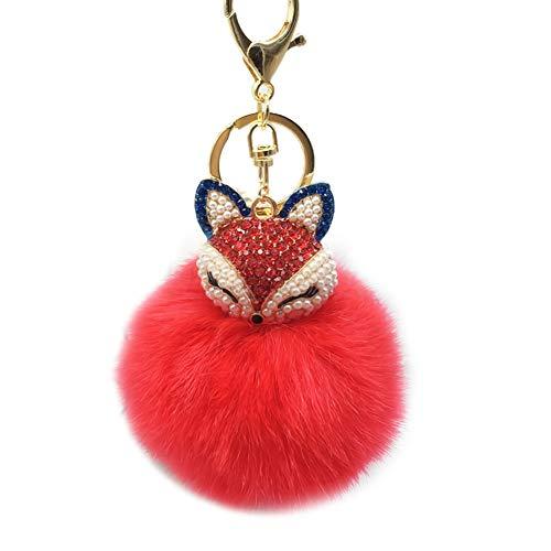 Demarkt Schlüsselanhänger aus Kunstfell Kaninchen Fellbommel Bommel,Fox Schlüsselanhänger (Rot)
