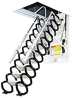 Metal Retractable Ladder for Loft Home Folding Step Ladder Attic pulldown Ladder Hinge 5ft-11ft (Hole 3.93ft2.62ft,Height 9.84ft)
