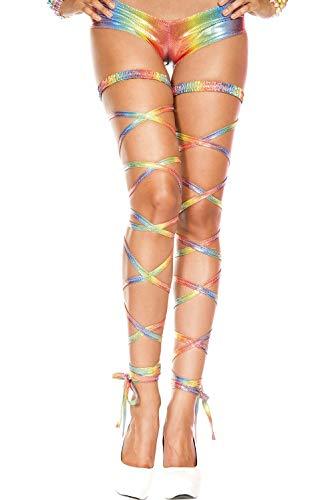 Unbekannt Damen Beinbandage, Metallic, Rave - mehrfarbig - Einheitsgröße