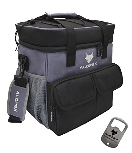 ALOPEX 24-Can Cooler Bag Insulated Outdoor Lunch Bag with Detachable and Adjustable Shoulder Strap, Bonus Bottle Opener, Black and Gray
