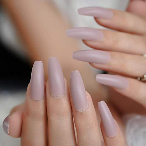 CLOAAE Extra Long Coffin False Nails Matte Nude Pink Frosty Elegance Dancer Ladies Party Pre-designed Nails 24