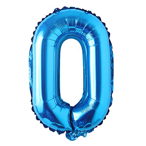 16 inch Single Blue Alphabet Letter Number Balloons Aluminum Hanging Foil Film Balloon Wedding Birthday Party Decoration Banner Air Mylar Balloons (16 inch Pure Blue O)