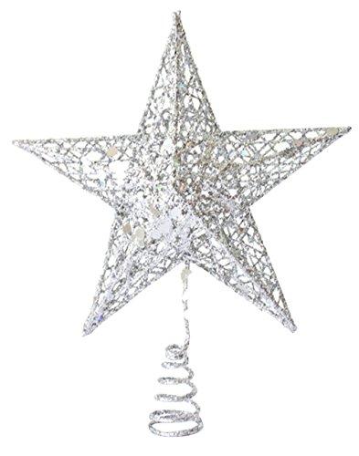 Biwinky Stella di Natale Puntale per albero di Natale decorazione 20*15cm, Metallo, argento, 20*15cm