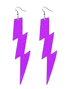 Purple Lightning Bolt Earrings