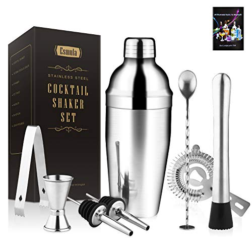 Cocktail Shaker Set 8 Stück,Esmula 750ML Edelstahl Barkeeper Kit Professionelles Martini Mixing Bartending Kit Kombination,Home Stylish Bar Tool Set mit Cocktail Rezeptheft (8 Stück, 750ml)