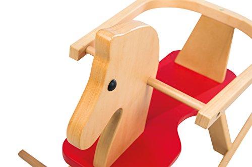 roba Schaukelpferd, Schaukeltier Massivholz natur rot, Schaukelstuhl mitwachsend für Babys und Kleinkinder durch abnehmbaren Schutzring - 7