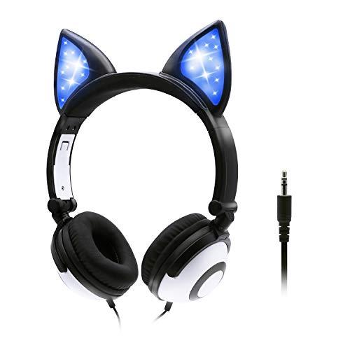 ONTA Kopfhörer Kinder mit niedlichen LED Leuchtenden Katzenohren 85dB Volume Lautstärke begrenzt Faltbar Verstellbare On Ear Kinder Kopfhörer für Jungen und Mädchen (Schwarz)