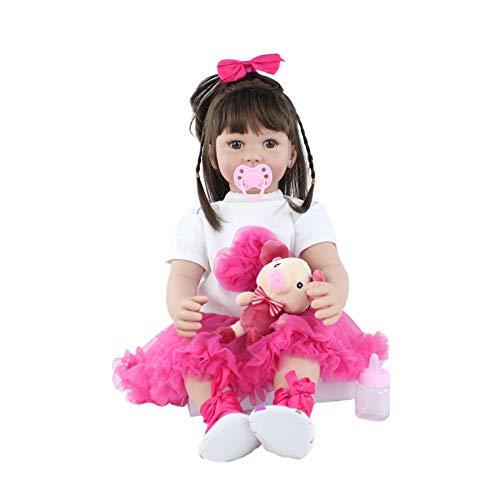 PPMM Lebensleine Realistische Reborn-Baby-Puppen, Handgefertigte Realistische Lachende Baby-Puppe, 24-Zoll-Lebensechtes Weiches Vinyl Gewichtetes Geschenkset, Für Mädchen Alter 3