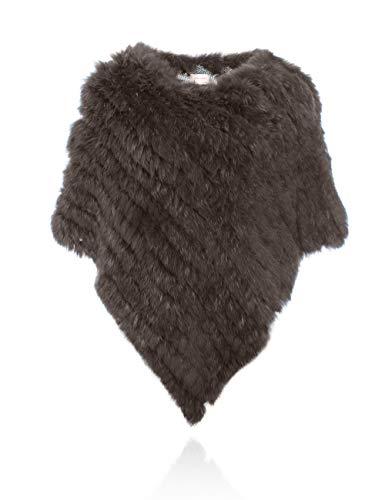 HEIZZI Gestrickt Original Kaninchenfell Poncho Pullover
