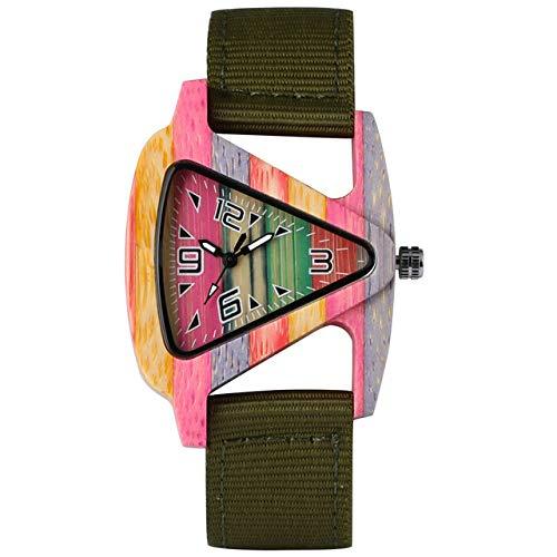 IOMLOP Reloj de Madera Reloj de Madera de bambú para Mujer Esfera Triangular Correa de Nailon Duradera Relojes de Cuarzo para Hombre Pulsera de Mujer, Verde