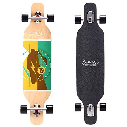 SANVIEW 39' Drop Through Longboard Skateboard Cruiser for Beginners Circle