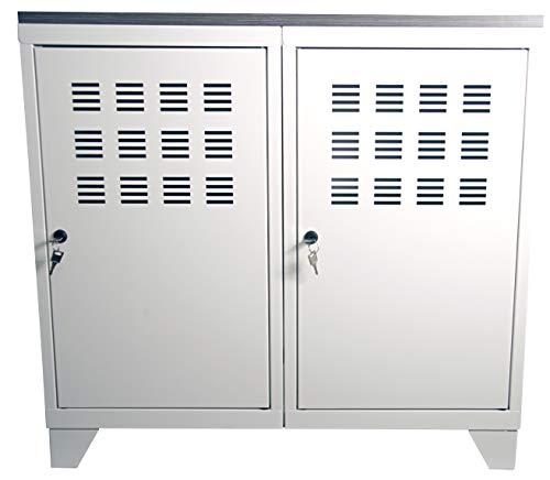 Armoire 2 Porte sur Pieds GM avec Plateau en MDF, Blanc