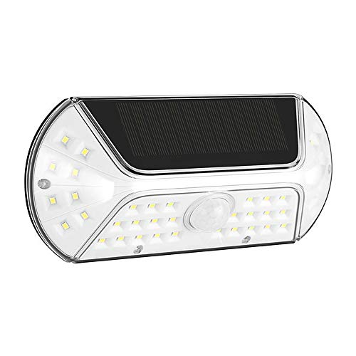 Farol solar LED de pared IP44, resistente al agua, para exterior, lámpara solar LED, lámpara solar para jardín, pasillo, pared, jardín, Navidad, 1 unidad