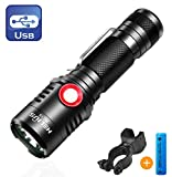 Best Bicycle Lights 5000 Lumens Rechargeables - Rechargeable Tactical 18650 USB Flashlight, Powerful Cree XML2 Review