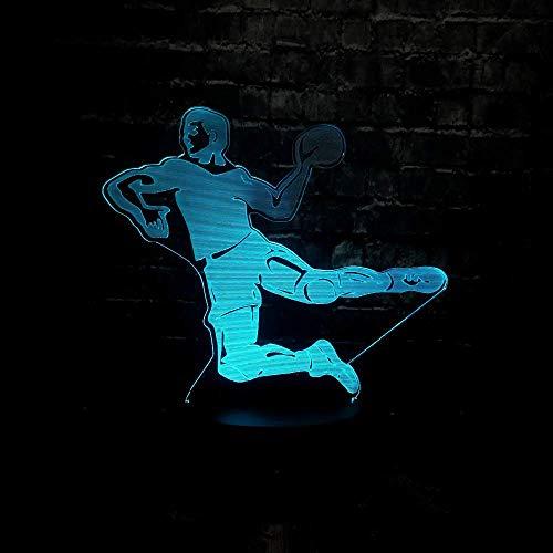 Shooting Basketball Lámpara de ilusión 3D Luz de noche 3D para niños niñas Lámpara de mesa de escritorio 16 Cambio de color Lámpara de decoración Regalos Festival de cumpleaños Navidad para adole