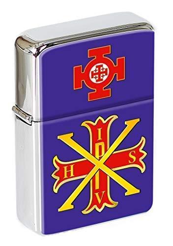 Rot Kreuz der Constantine Freimaurer Klappfeuerzeug in einer Geschenkdose