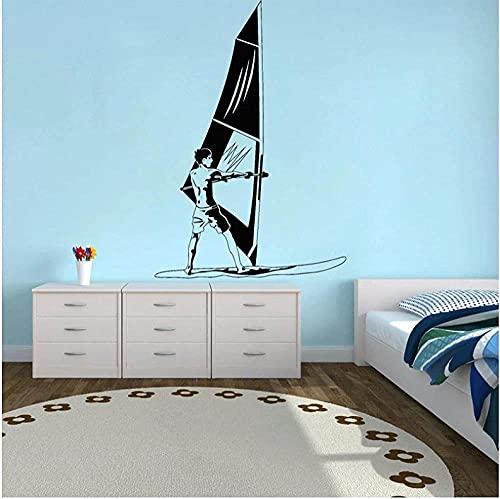 TJVXN Windsurf Pegatinas de Pared decoración de la habitación de los niños Windsurf Deportes Extremos calcomanías Surf decoración del hogar Mural 57X82cm